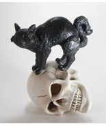 "Black Cat Standing on Skull with Lighted Eyes Halloween Figurine 8""T - $23.71"