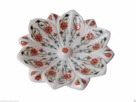 White Marble Fruit Bowl Real Carnelian Gem Marquetry Floral Kitchen Gift... - $368.91