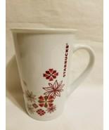 Starbucks Mug Snowflake Poinsettia Christmas Holiday White Red Gold Mug ... - $16.82