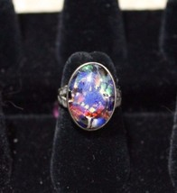 1920's artglass and sterling ring - $70.13