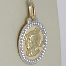Pendentif Médaille or Jaune Blanc 750 18K Ovale ,Christ Et Croix, Tricotée image 2