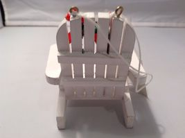 White Adirondack beach chair ornament with holiday greens wreath and LOVE image 4