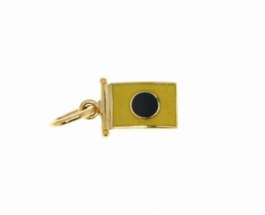 18K YELLOW GOLD NAUTICAL GLAZED FLAG LETTER I PENDANT CHARM MEDAL MADE IN ITALY