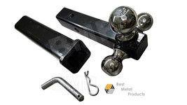 """TRI-BALL HITCH MOUNT CHROM w/PIN+12"""" HITCH RECEIVER TOWING HAULING TRAIL... - $43.95"""