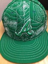 Atlanta Braves Green Quilted Baseball Hat  New Era Fitted Hat Size 7 5/8 - $29.69