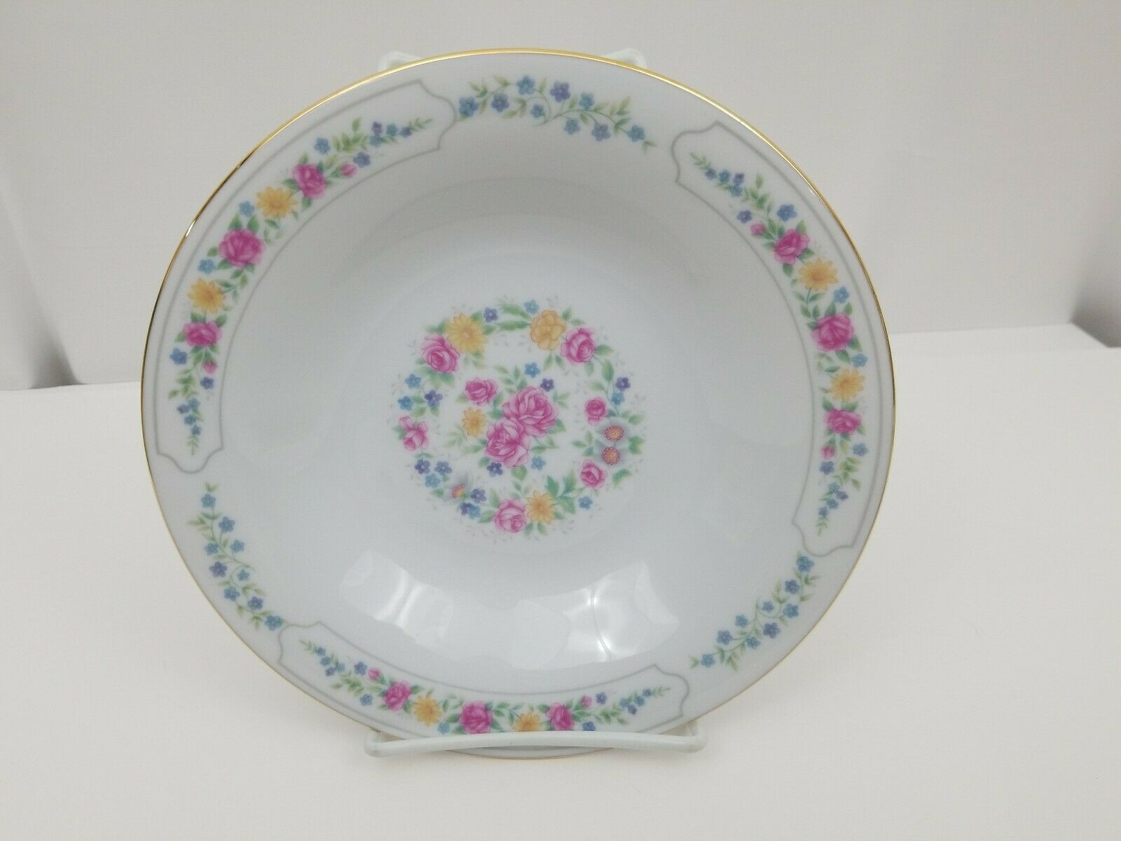 Liling Fine China Cereal Soup Bowls Set of 4 Yung Shen White Roses Keepsake 8.25 image 2