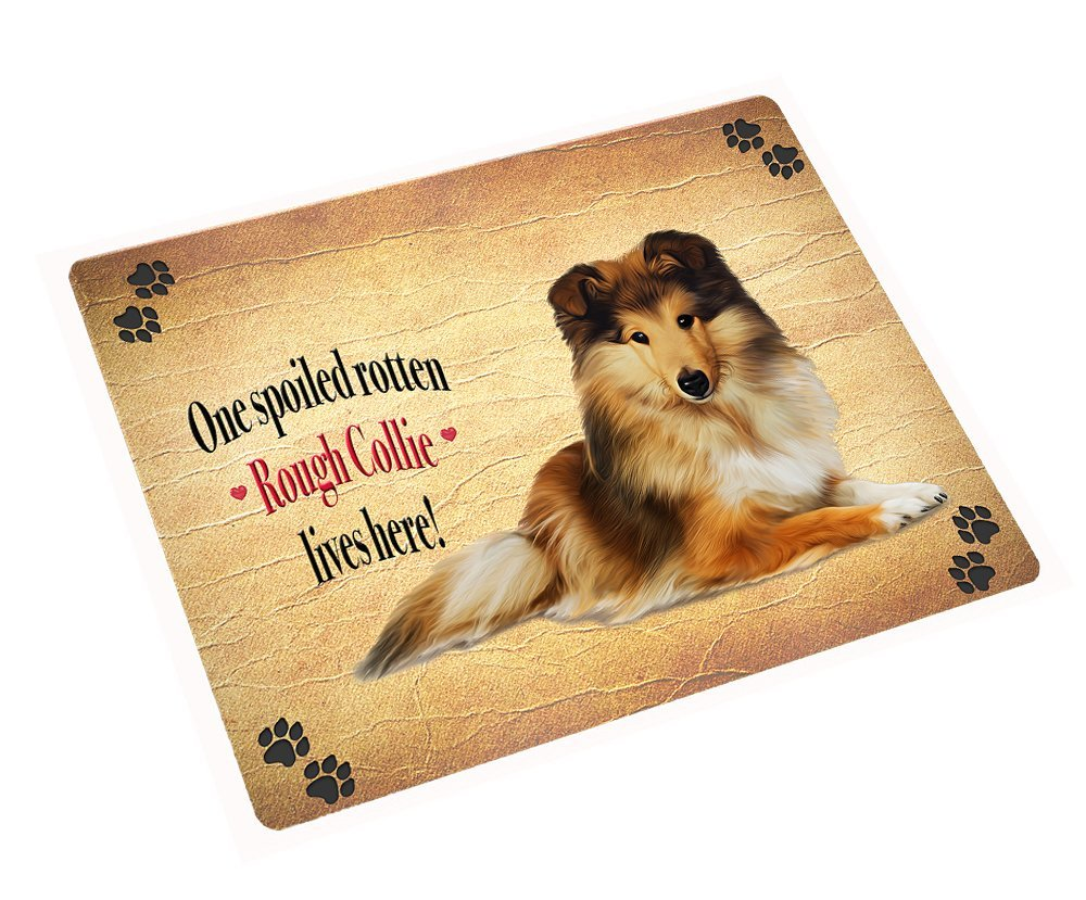 Rough Collie Spoiled Rotten Dog Art Portrait Print Woven Throw Sherpa Plush Flee