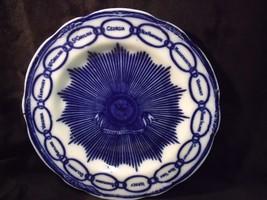 "Antique Staffordshire Flow Blue Martha Washington 8 7/8"" Chain of States... - $33.66"