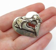 925 Sterling Silver - Vintage Modernist Love Heart Screw Back Lapel Pin - T2019 - $33.20