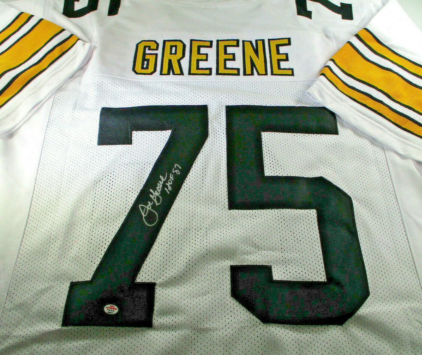 """MEAN"" JOE GREENE / NFL HALL OF FAME / HAND SIGNED SEELERS CUSTOM JERSEY / COA"