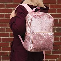 Style.Lab Fashion Angels Backpack-Pink Glitter/Velvet Pocket Magic Sequin Back P image 9