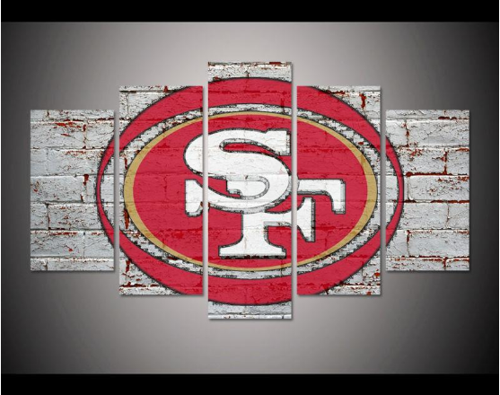 Framed 5 Pieces San Francisco 49ers Canvas Prints Painting Wall Art Home Decor