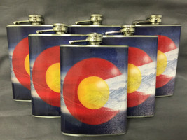 Set of 6 Colorado Flag D 8 Flasks 8oz Stainless Steel Hip Drinking Whiskey - $36.58
