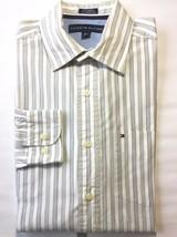 Tommy Hilfiger Men's Longsleeve Dress Shirt White Green Stripe S 14 1/2 –15 - $23.56