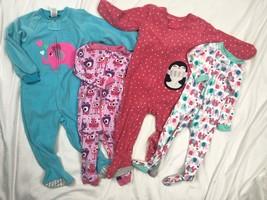 Carters Fleece Blanket Sleeper Pajamas Lot Baby Girls 12-18M TCP Cotton ... - $32.73