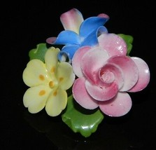 VTG CARA CHINA STAFFORDSHIRE Porcelain Flower Cluster Pin Brooch - $74.25