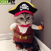 Pet Cat Pirate Costume Suit Halloween with Hat - $21.60+