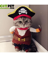 Pet Cat Pirate Costume Suit Halloween with Hat - £12.47 GBP+