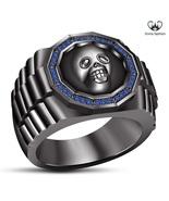 Round Cut Blue Sapphire 14k Black Gold Finish 925 Pure Silver Biker Skul... - $76.86