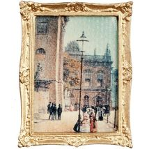DOLLHOUSE Framed Picture Street Scene 19th or Early 20th Century Miniature #2 - $7.05