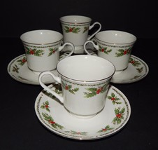 4 Centurion Collection Holly Holiday Cups & Saucers White Red Green Porc... - $744,00 MXN