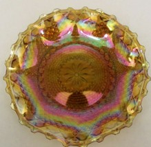 Vintage Rainbow Carnival Iridescent Glass Ruffle Bowl - Indiana Glass - Exc Cond - $13.19