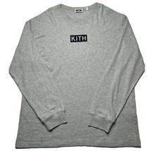 Men's Kith Box Logo Suede Spellout Long Sleeve T Shirt Size 2XL Gray Blue - £71.94 GBP
