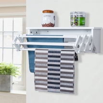 Wall-Mounted Drying Rack Folding Clothes Towel Laundry Room Storage Shel... - $84.86