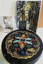 OLIVE TIN CHICAGO AND WILD WOOD TAROT DECK AND BOOK USED MISSING ONE CAR... - $22.00