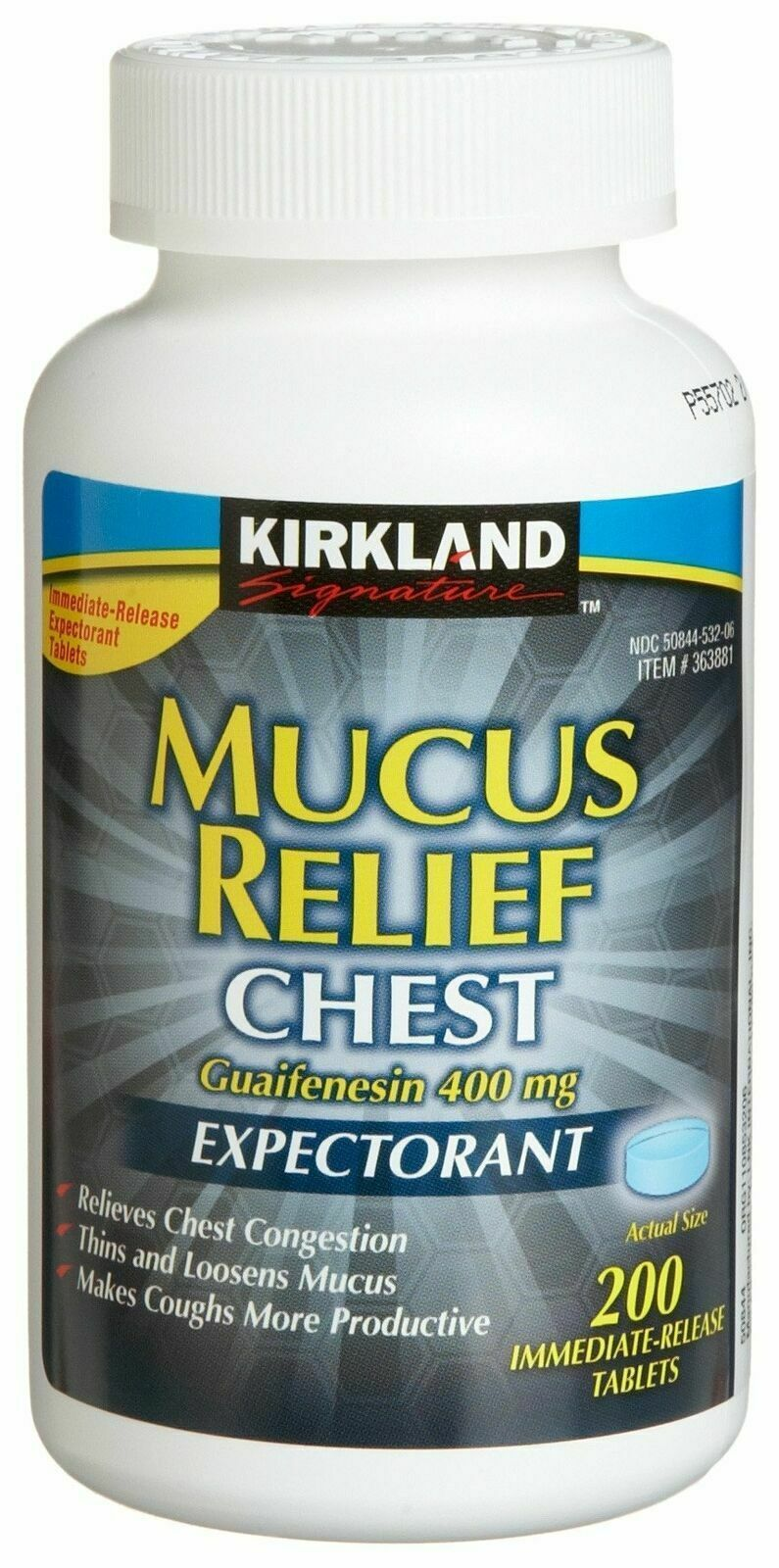 Primary image for Kirkland Signature Mucus Relief Chest Expectorant - 200 Tablets