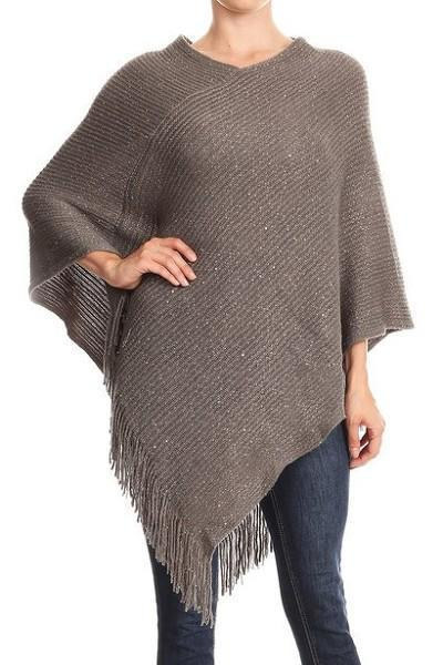 Women's Gray Sequin Poncho Shimmer Fringed Holiday Cape: OS