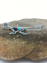 NATIVE Navajo STERLING SILVER Turquoise Inlay Roadrunner PIN Pendant Set... - $163.35