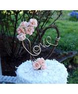 Rustic Bridal Shower Decor, Peach Rose & Vine Cake Topper, Country Woodland Rece - €43,24 EUR