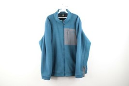 The North Face Mens Size XL Spell Out Deep Pile Fleece Lined Fleece Jacket Blue - $48.46