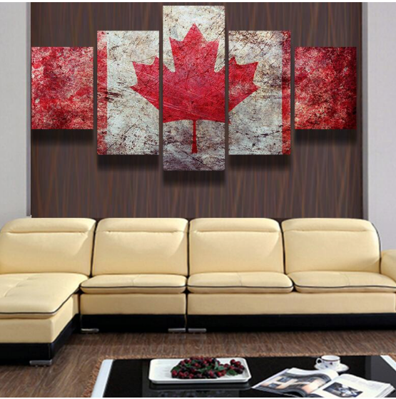 Framed 5 Pieces Canada Pride Canvas Prints Painting Wall