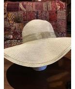 Vintage Beige Gold Straw Hat Wide Brim Hat - $47.66