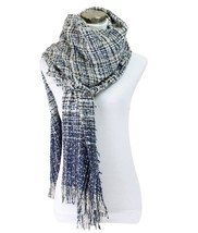 Le Nom Plaid Pattern Boucle Scarf (Navy) - $15.83