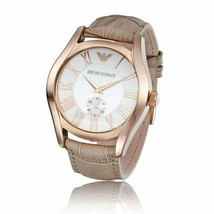 Emporio Armani AR1670 Classic Rose Gold Nude Leather Strap Womens Watch - £88.74 GBP