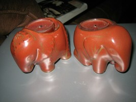Cute Pair of Partylite Burnt Orange Elephant Tealight Candle Holders - $17.81