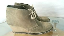 J.Crew Women's MacAlister Wedge Boots Beige Suede Lace Up Desert Booties Size 6 - $28.71