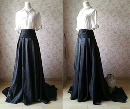 Women High Waisted Black Maxi Skirt Pleated Maxi Skirt with Train Evening Skirt image 3