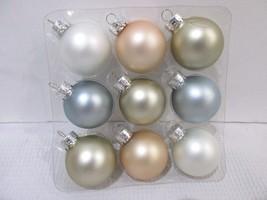 "Christmas Shabby Chic MINI Pastel Blue Rose Glass Ball Ornaments 1.5"" Se... - $9.99"