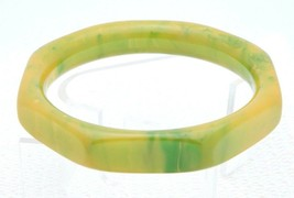 VTG Yellow Green Octagonal Marbled End of Day BAKELITE TESTED Bangle Bra... - $123.75
