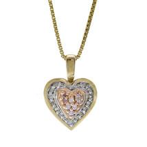 0.15 Carat Round Cut Diamond Heart Pendant On Box Link Chain 14K Tri Tone Gold - $296.01