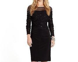 Nwt Women Lauren Ralph Lauren Black Jersey Lace & Sequine Size 4 $194 - $59.39