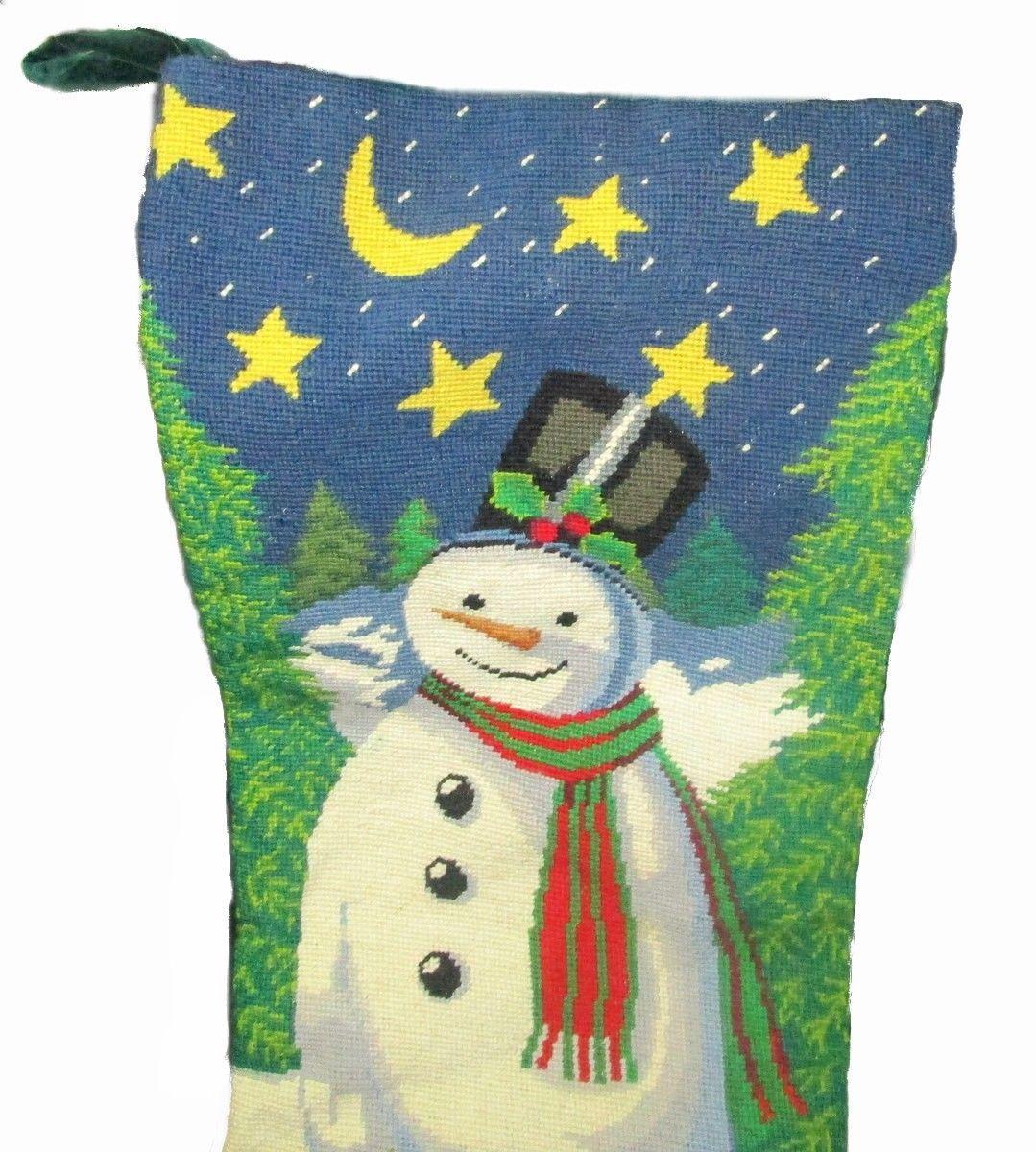 Giant 33 Inch Needlepoint Snowman Christmas Stocking