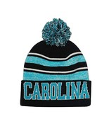 Carolina Men's Blended Stripe Winter Knit Pom Beanie Hat (Black/Teal) - $13.75