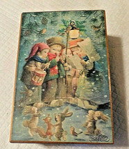 """Vintage1978 Schmid""""We Wish You A Merry Christmas""""Wooden Music Box-Caroler Scene - $24.74"""