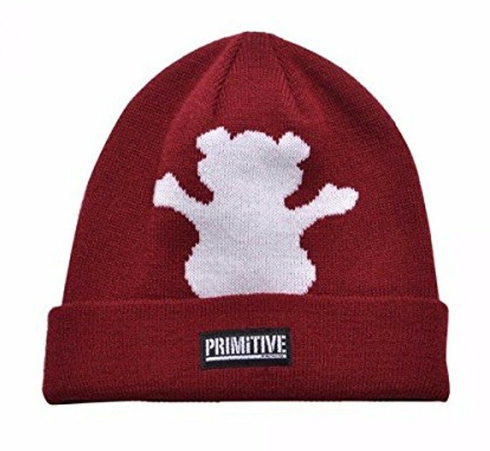 Primitive x Grizzly GripTape Burgundy Bear Fold Cuff Beanie Winter Skate Hat