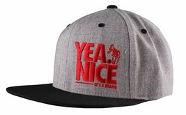 Yea Nice # Funtimes Men's Gry-Blk-Red Embroidered O/S Snapback Baseball Cap NWT image 2